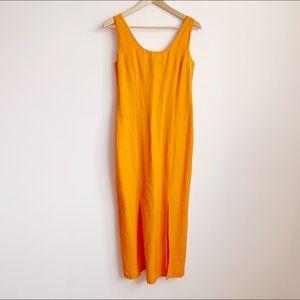 90s bright orange fitted sleeveless midi dress